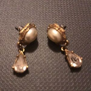 Gold Dangle with Pearl in Middle and Gem Earrings